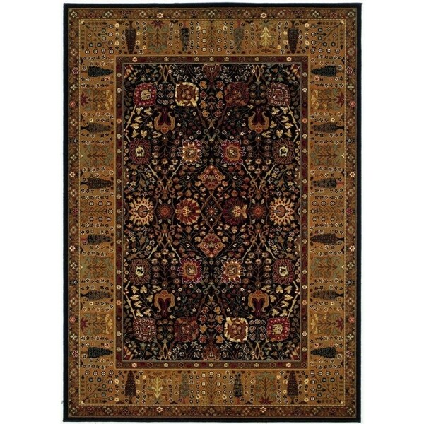 Royal Border Oriental Rug By Rug Culture: Shop Bellagio Floral Traditions Black-Deep Maple Wool Area