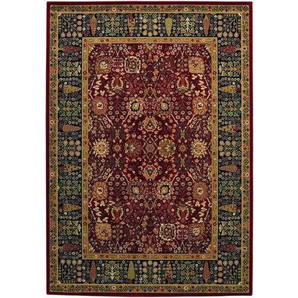 """Bellagio Floral Traditions Persian Red Wool Area Rug - 6'6"""" x 9'10"""""""