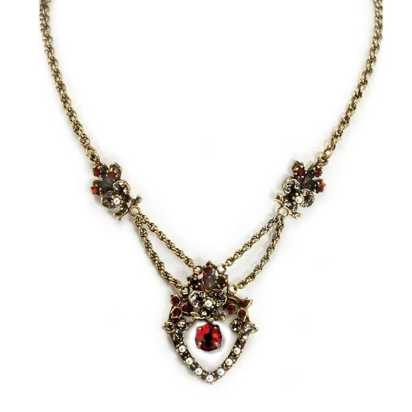 Sweet Romance Victorian Garnet and Pearls Vintage Necklace