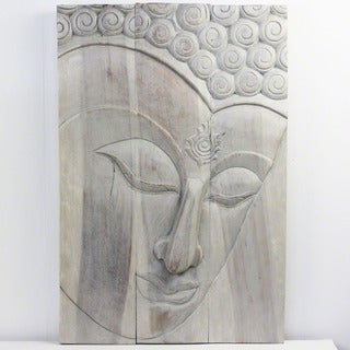 20 x 30-inch High Agate Grey Oil Buddha Ushnisha Panel (Thailand)