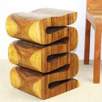 Handmade 20-inch High Oak Oil Wave End Table (Thailand)
