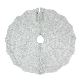Silver Beaded Snowflakes Tree Skirt (India)