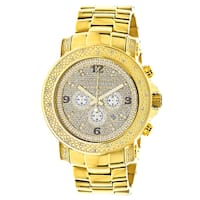 Luxurman Watches Mens Oversized Diamond Watch 0.5ct Yellow Gold Metal Band plus Extra Leather Straps