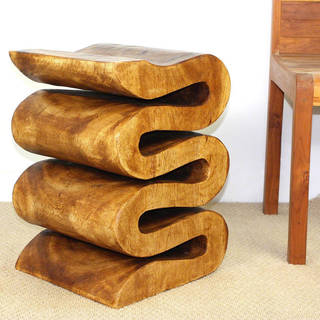 "Handmade Walnut Oil Wood Wave Table - 14"" x 14"" x 20"" (Thailand)"