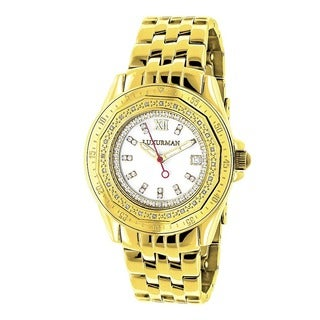 Luxurman Women's 1/4ct Diamond Yellow Gold Watch Metal Band plus Extra Leather Straps