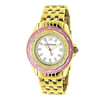 Luxurman Women's 1/4ct Diamond Yellow Gold-Plated Watch Metal Band plus Extra Leather Straps