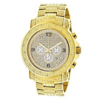 Luxurman Men's Iced Out Oversized 2ct Diamond Yellow Gold Chronograph Watch Metal Band plus Extra Le