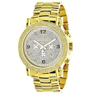 Luxurman Men's Oversized Yellow Goldplated Diamond Watch Metal Band plus Extra Leather Straps
