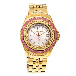 Luxurman Women's Yellow Gold-Plated Stainless Steel Mother of Pearl Dial Watch Metal Band plus Extra