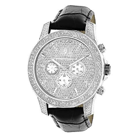 Luxurman Men's Freeze 0.5ct Diamond Black Watch with Leather Strap Set