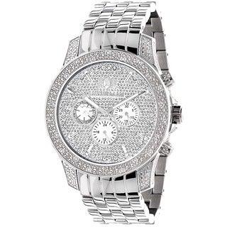 Luxurman Men's Stainless Steel Diamond Chronograph Watch