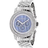 Luxurman Men's Blue Mother of Pearl Dial Diamond Watch