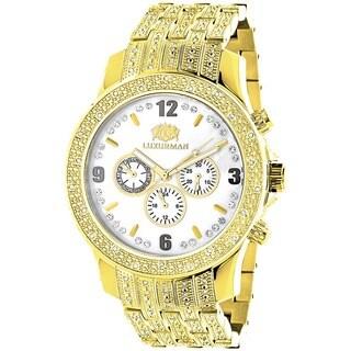 Luxurman Mens Diamond Watch 1ct. Yellow Gold