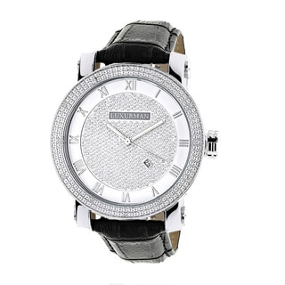 Luxurman Men's 0.18ct Diamond Black Watch with Leather Strap Set