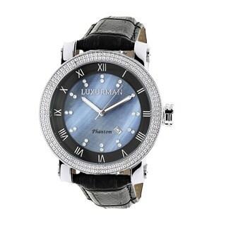 Luxurman Men's Blue Mother of Pearl Diamond Watch