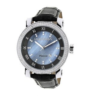 Luxurman Men's Blue Mother of Pearl Diamond Watch