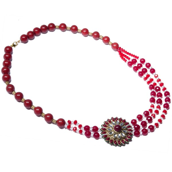 Kramasa Red Starburst Bead Kundan Tri-strand Necklace (India)