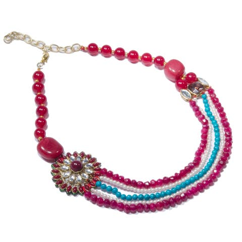 Handmade Red and Blue Starburst Bead Handmade Kundan Multi-strand Necklace