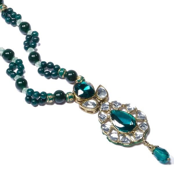 Kramasa Emerald Green Teardrop Bead Kundan  Necklace (India)