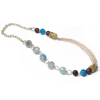 Kramasa Chalcedony and Bead Handmade Necklace (India)|https://ak1.ostkcdn.com/images/products/8568363/Kramasa-Chalcedony-and-Bead-Handmade-Necklace-India-P15843529.jpg?impolicy=medium