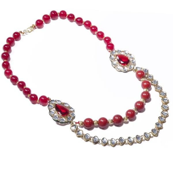 Handmade Red Bead Kundan Handmade Necklace