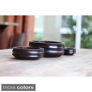 Timbergirl Handmade 3-piece Acacia Wood Bowls (India)