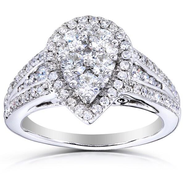 Annello by Kobelli 14k Gold 1ct TDW Pear Shape Diamond Ring (H-I, I1-I2)
