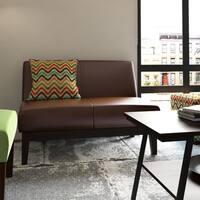 Porch & Den Echo Park Grafton Brown Bonded Leather Loveseat