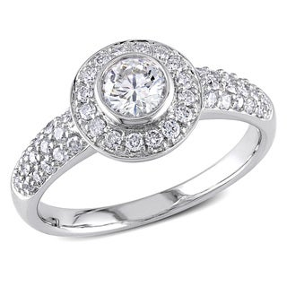 Miadora Signature Collection 14k White Gold 1ct TDW Bezel-set Halo Diamond Engagement Ring