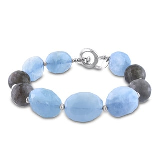 Miadora Sterling Silver Aquamarine and Labradorite Bracelet