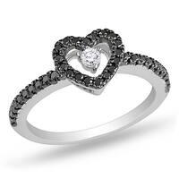 Miadora 14k Gold 1/4ct TDW Black and White Floating Diamond Heart Ring