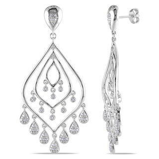 Miadora Sterling Silver 1/3ct TDW Diamond Chandelier Earrings (H-I, I2-I3)
