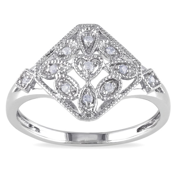 Miadora Sterling Silver Diamond Accent Vintage Style Ring