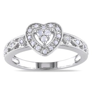 Miadora Sterling Silver 1/6ct TDW Diamond Heart Ring (I-J, I2-I3)
