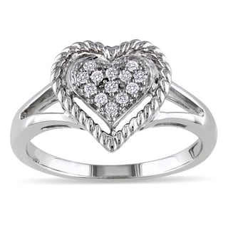 Miadora Sterling Silver 1/10ct TDW Diamond Heart Ring (I-J, I2-I3)