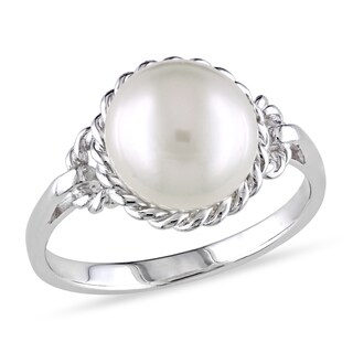 Miadora Sterling Silver Pearl Ring (9-9.5 mm)