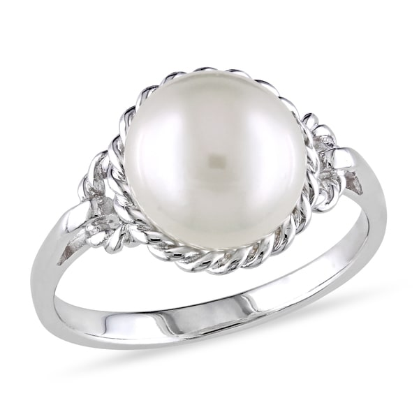 Miadora Sterling Silver Pearl Ring