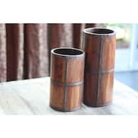 Handcrafted Rustic Wood Umbrella Stand  , Handmade in India