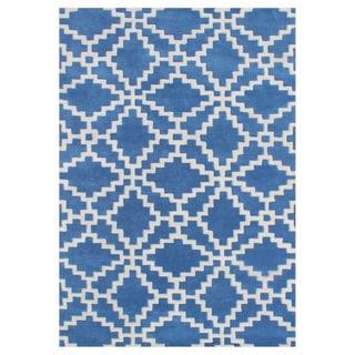 Alliyah Patriot Blue Handmade New Zealand Blended Wool Rug (9 x 12)