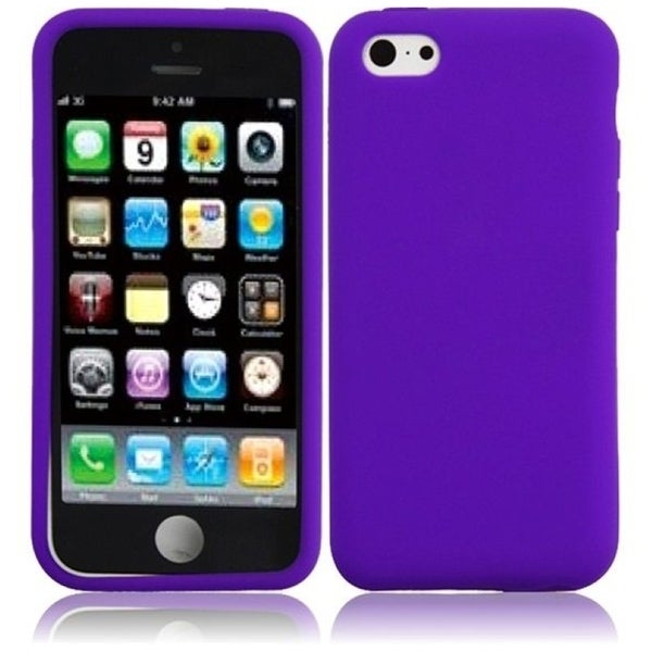INSTEN Purple Rubber Soft Silicone Soft Skin Gel Phone Case Cover for Apple iPhone 5C