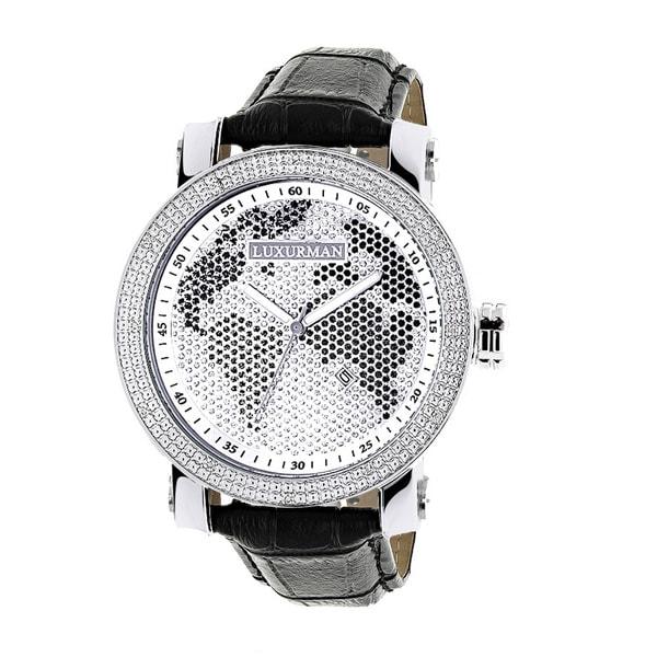 Luxurman mens black white world map 018ct diamond watch with luxurman menx27s black white world map 018ct diamond watch with gumiabroncs Gallery
