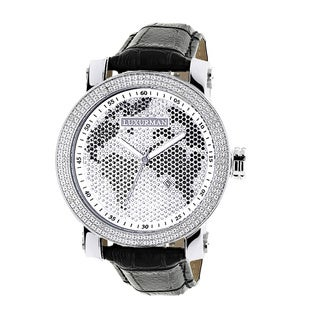 Luxurman Men's Black/ White World Map 0.18ct Diamond Watch with Leather Strap Set