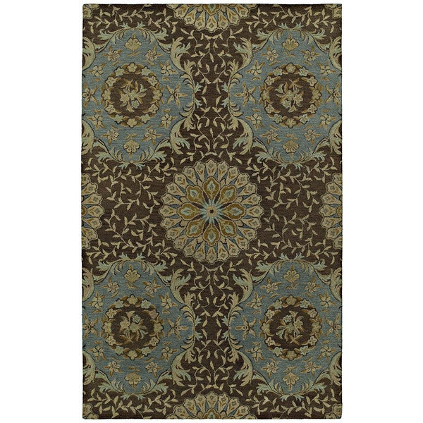 St. Joseph Chocolate Brown Damask Hand-Tufted Wool Rug - 9'6 x 13'