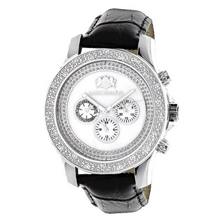 Luxurman Men's White Freeze 0.25ct Diamond Watch with Leather Strap Set