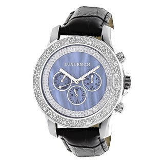 Luxurman Men's Blue Mother of Pearl 0.25ct Diamond Watch with Leather Strap Set