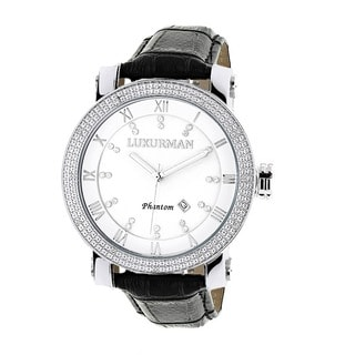 Luxurman Men's White Mother of Pearl Stainless Steel Watch with Leather Strap Set
