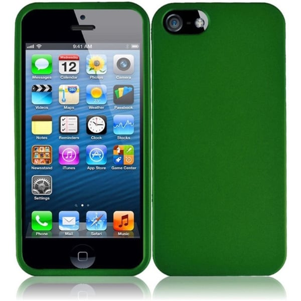 INSTEN Green Rubberized Hard Plastic PC Snap-on Phone Case Cover for Apple iPhone 5/ 5S/ SE
