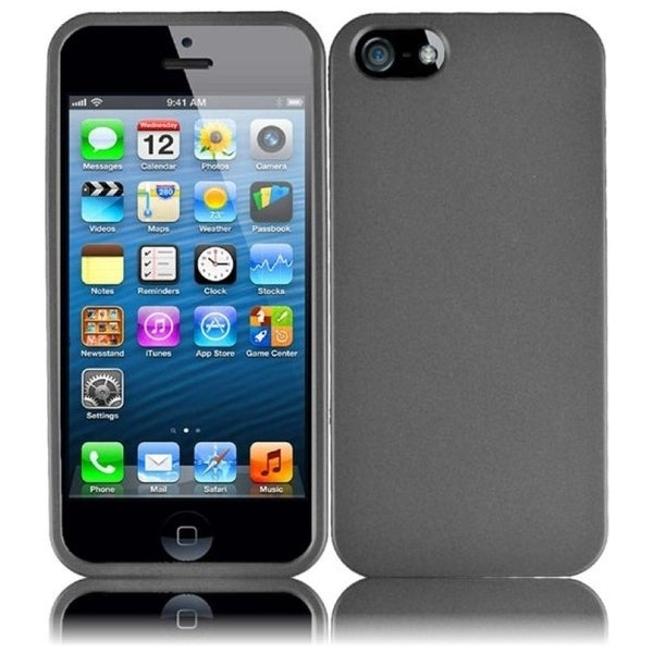 INSTEN Grey Rubberized Hard Plastic PC Snap-on Phone Case Cover for Apple iPhone 5/ 5S
