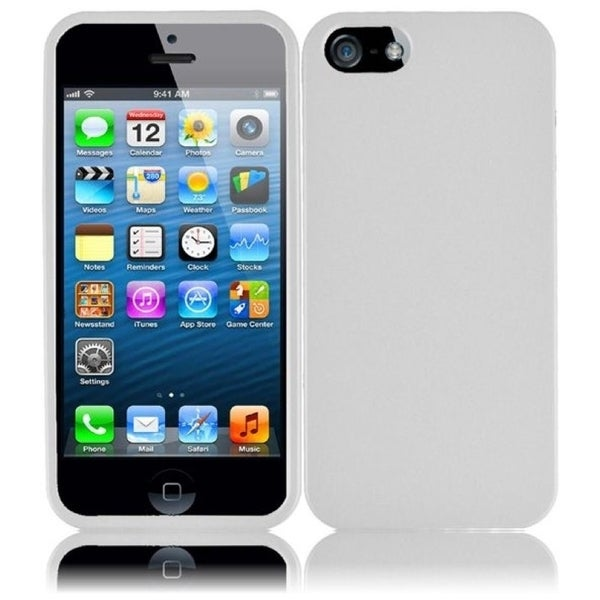 INSTEN White Rubberized Hard Plastic PC Snap-on Phone Case Cover for Apple iPhone 5/ 5S/ SE