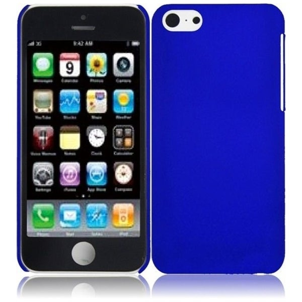 INSTEN Blue Rubberized Hard Plastic PC Snap-on Phone Case Cover for Apple iPhone 5C